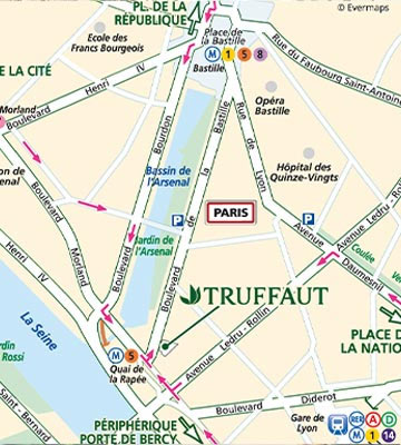 Truffaut Paris Bastille Map