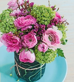 bouquet rose et vert