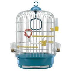 Cage ronde Regina pour oiseaux exotiques : Hauteur 48,5 cm Bleu