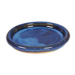 Soucoupe bord en grès émaillé, aqua bleu Ø 24 cm