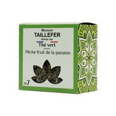 Thé vert pêche fruit de la passion: pot cristal 70g