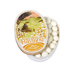 Bonbon Anis de Flavigny: boite ovale 50g fleur d'oranger