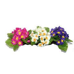 Bouquet de primeveres en coloris assortis, soie, H20Cm - L20Cm, 0,1Kg