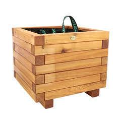 Bac carré en bois de mélèze certifié  L. 40 x l. 40 x H. 40 cm