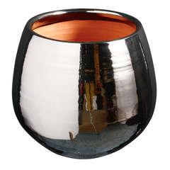 Pot Cancale en terre cuite émaillée, couleur métal Ø 14 cm