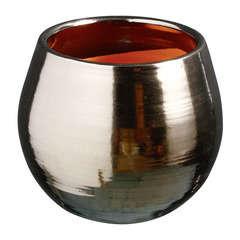 Pot Cancale en terre cuite émaillée, couleur métal Ø 17 cm