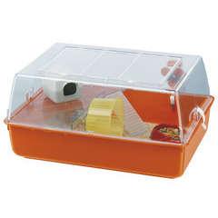 Cage mini Duna pour hamster : bac orange Longueur 55 cm