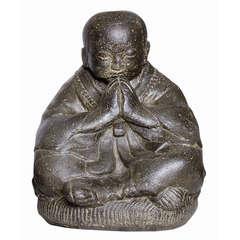 Statue moine assis H. 30 cm