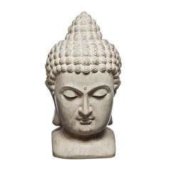 Décor de jardin : Tête de Bouddha, coloris ciment H. 48 cm