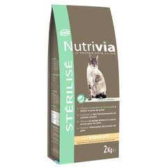 Croquettes chat stérilisé Nutrivia au poulet : 2 kg