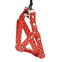 Harnais galon motif pois sur sangle nylon : Tour de cou 23-33 cm rouge