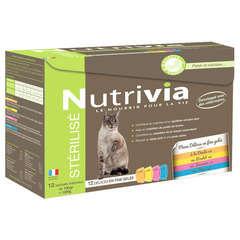 Nutrivia chat adulte stérilisé : 12 sachets aux viandes