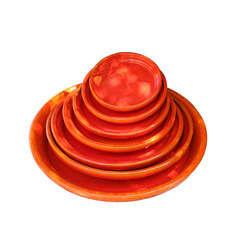 Soucoupe en terre cuite émaillée, coloris Soleil Couchant Ø 23 cm