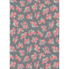 Feuille Décopatch 646 - Gris, motifs fleurs