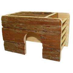 Maison en bois avec ratelier pour lapin nain : L41xl29xh24 cm