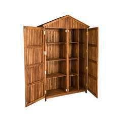 Armoire en bois 2 portes naturelle - 120x46x190 cm
