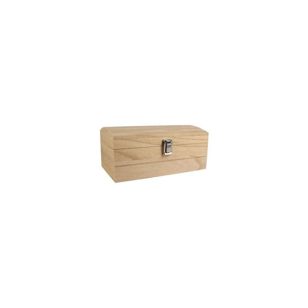 Coffre couvercle plat avec fermeture, en bois L. 25 x 11,5 x H. 15 cm