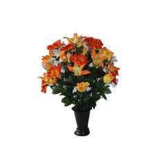 Vase funéraire de rose/gerbera de soie H. 65 cm (1,5kg)