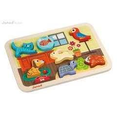 Puzzle animo' chunky en bois thème animaux domestiques