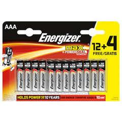 Piles alcalines Energizer LR03 Max 1,5V (12+4 gratuites)