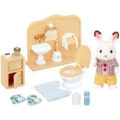 Miniatures : Frere lapin choco/toilettes 16,5x7,4x16,5cm en plastique