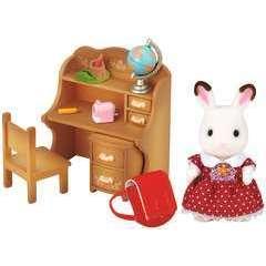 Miniatures : Fille lapin chocolat/bureau 16,5x7,4x16,5cm en plastique
