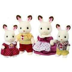 Miniatures : Famille lapin chocolat Sylvanian 20x5,5x17cm en plastique