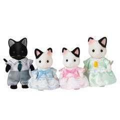 Miniatures : Famille chat bicolore   20x5,5x17cm en plastique