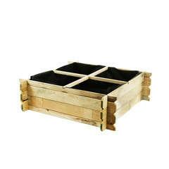 Carré potager en bois de pin autoclave - L.100 x l.100 x H.29 cm