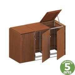 Cache-poubelles (x3) couvercle, habillage bois L.206 x l.84 x H.125 cm