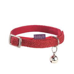 Collier nylon chat Disco rouge :Longueur 30 cm