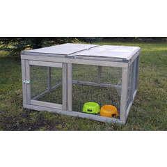 Enclos Run out open en bois  pour lapin,tortue : gris L90xl90xH50cm