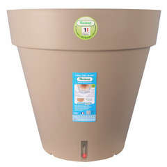 Pot Loft à réserve d'eau, en polypropylène, taupe Ø 20 x H. 18 cm