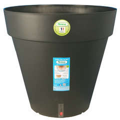 Pot Loft à réserve d'eau, en polypropylène,noir Ø 24,5 x H. 22,5 cm