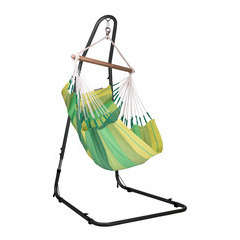 Set chaise-hamac simple verte en coton + support en acier