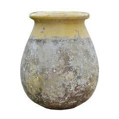Pot Biot goutte, patine Provence émaillée jaune Ø 54 x H. 70 cm