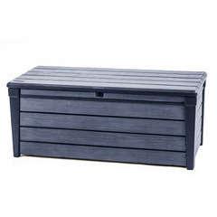 Coffre de rangement en résine (aspect bois), gris brossé - 455 L