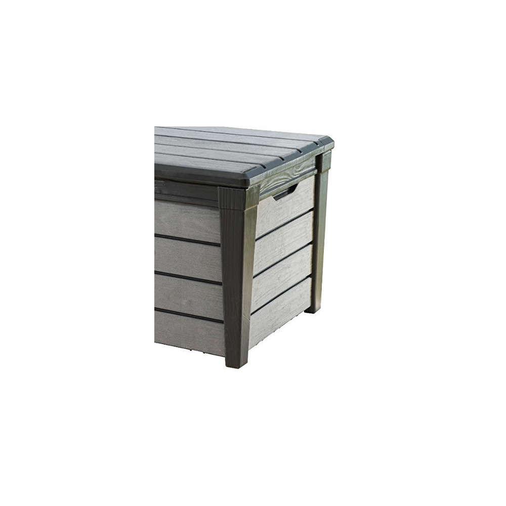 Coffre de rangement en résine (aspect bois), gris brossé 455 L