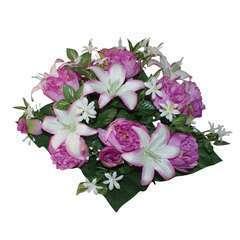 Bouquet de 28 pivoines/lys, lavande H46cm (0,3kg)