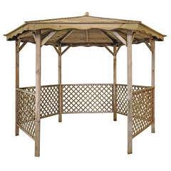 Tonnelle Lora avec toit en bois - diamètre 345 cm