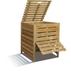 Composteur en bois avec trappe 800 L