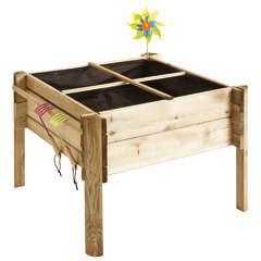 Carré potager 'Enfant Potager Kindy' en bois - L.74xl.74xH.50 cm