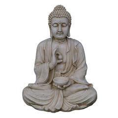 Bouddha assis, ton vieille pierre l. 60 x H. 80 cm