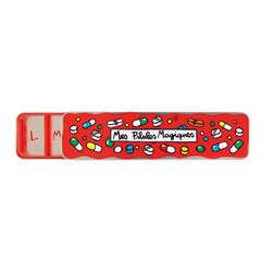 Boîte à pilules (7 compartiments), métal 19,5x5 cm - Magiques