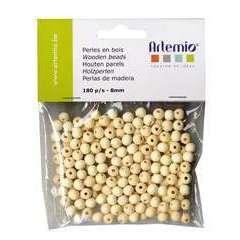 Perles rondes x180, en bois 8mm
