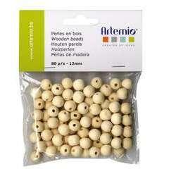 Perles rondes x80, en bois 12mm