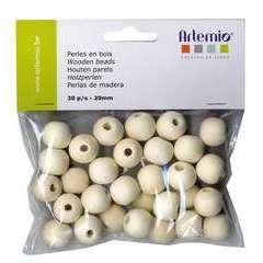 Perles rondes x30, en bois 20mm
