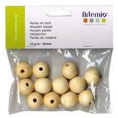 Perles rondes x12, en bois 25mm