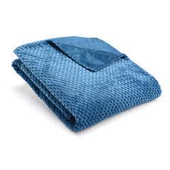 Plaid Damier en polyester, bleu nuit 170x130cm
