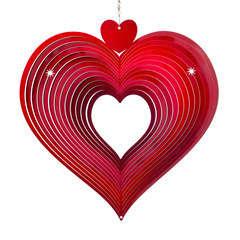 Spirale éolienne Cœur rouge, en acier inoxydable Ø 30,5 cm